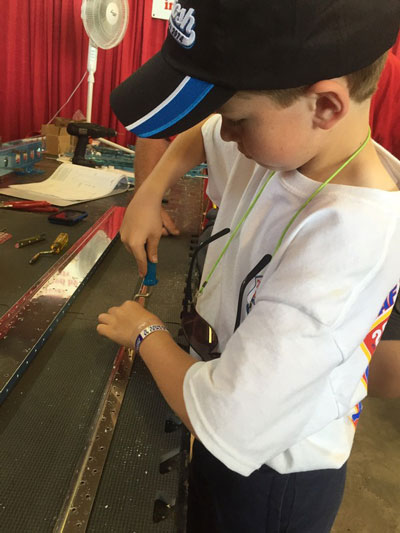 James Millson of Ontario, Canada, age 10, puts his skills learned at KidVenture to practice. Photo by Julia Lammers